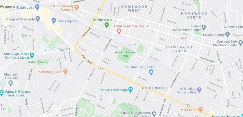 Westinghouse Park location map